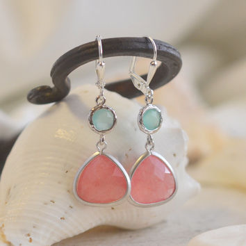 Coral Pink Teardrop and Aqua Jewel Dangle Earrings in Silver. Fashion Earrings. Bridesmaid Earrings. Drop Earrings.