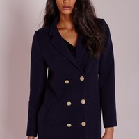 Missguided - Military Faux Wool Coat Navy