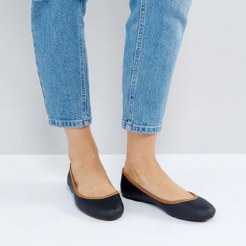London Rebel Contrast Trim Soft Ballerina at asos.com