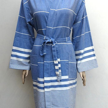 Pale blue colour soft Turkish cotton light weight hooded bathrobe, hooded dressing gown.