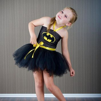Batman Girl Dress Halloween Cosplay Baby Girl Clothes Superhero Princess Costume Batman Toddler Girl Dress Halloween Party  PT61