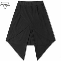 Fashion Shorts Skirt Man Spliced Fake Two Pieces Black Shorts Unisex Night Club Punk Gothic Stage Costumes