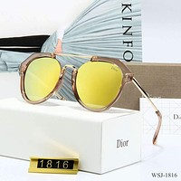 DIOR Hot Sale Popular Women Polarized Dazzle Glasses Sun Shades Eyeglasses Sunglasses Yellow I-3A30-LRWJ