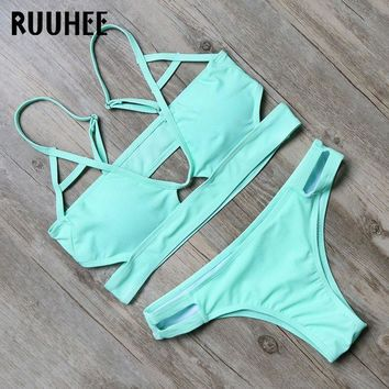 Bikini Swimwear Swimsuit Bathing Suit Women Solid Bandage Bikini Set Beachwear