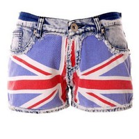 Great Britain Flag Washed Denim Shorts - Back in stock - Retro, Indie and Unique Fashion