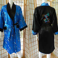 Vintage Asian Dragon Reversible Kimono Robe, Embroidered Dragon Size M/L, Black Blue Silky Satin Lingerie Robe