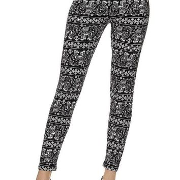 black & white elephant print brushed ankle leggings