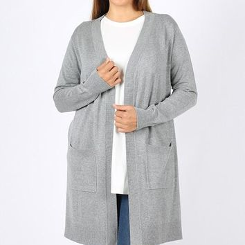 Heather Gray Long Sweater Cardigan