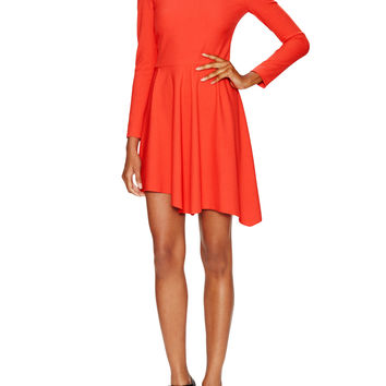 Piped Crewneck Asymmetrical Dress