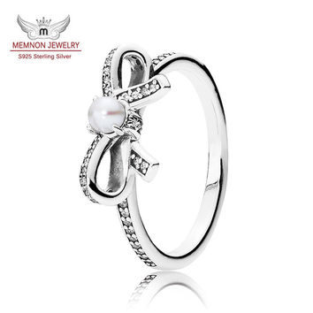 Black friday Silver bow Rings for women with clear CZ 925 sterling-silver-jewelry Christmas gift pearl Jewlery anillos RIP815