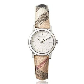 Burberry Silver Dial Check Fabric Strap Ladies Watch BU9222