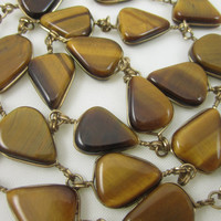 Tiger's Eye Necklace Vintage Stone Necklace Long Bohemian Chic Natural Style