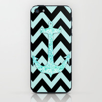 Blue Anchor Glitter iPhone & iPod Skin by productoslocos | Society6