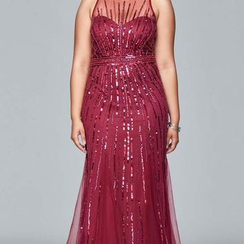 Faviana - 9382 Stretch tulle plus size evening dress with liquid style beading