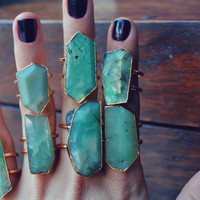 GALAXY  /// Double Banded Chrysoprase 24 Gold Electroformed Ring /// Lux Divine
