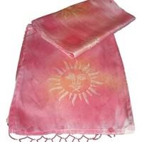 Womens Sun Sunface Silk Hand Dyed Beaded Scarf Perfect for Summer