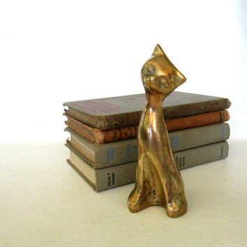 Brass Cat Figurine Mid Century Modern Minimalist Art Decor