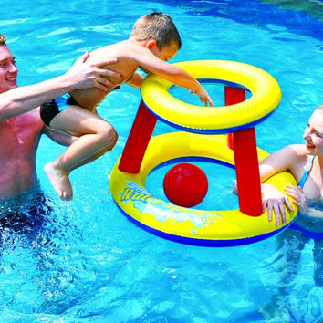 "29"" Red, Yellow and Blue Inflatable Swimming Pool Water Sports Basketball Game Set"