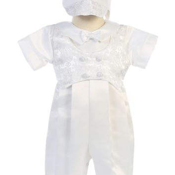 Paisley Jacquard Trim on Satin Long Romper with Mock Vest & Hat Christening Outfit (Baby Boys Newborn - 18 months)