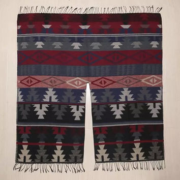 Tribal Pattern Print Fringed Woolen Wrapped Shawl