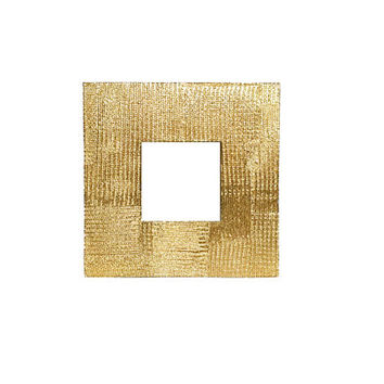 Glam Gold Hollywood Regency Style Square Picture Frame / Red Velvet Backing / Bold, Chic 1980s Decor / Thick, Textured Metallic Frame
