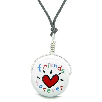 Handcrafted Cute Ceramic Lucky Charm Best Friends Forever Heart Amulet Pendant Adjustable Necklace