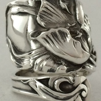 Size 8.5 Vintage Solid Sterling Tulip Spoon Ring