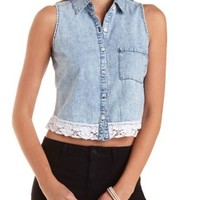 Lace-Trim Acid Wash Chambray Top by Charlotte Russe