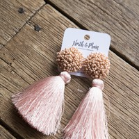 Alexi Tassel Earrings, Peach