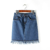 Summer Women's Fashion High Rise Tassels Denim Skirt [4920260548]
