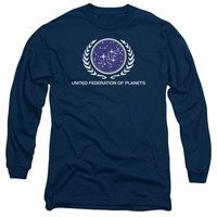 STAR TREK/UNITED FEDERATION LOGO - L/S ADULT 18/1 - NAVY -