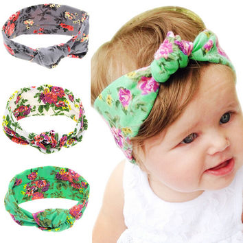 8488e666b0a 2016 Hot Baby Tie Knot Headband Printing Kids Girls Hair Accesso