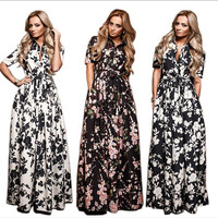 Plus Size Summer Style Dress 2016 Fashion Casual Loose Printing Short Sleeve Turn-down Collar  Women's Dress