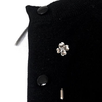 Vintage Stick Pin, STUART NYE Sterling Lapel Pin, Dogwood Flower Pin,Signed Jewelry,Sterling Silver Jewelry,Dogwood Tie Pin,Stocking Stuffer