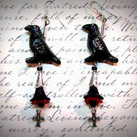 """Goth Earrings,Gothic Crow Earrings,Crosses, Acrylic flowers Red and Black Handmade, """"One Of A Kind"""""""