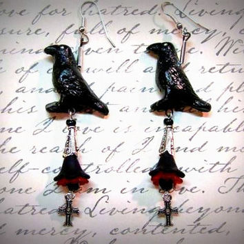 "Goth Earrings,Gothic Crow Earrings,Crosses, Acrylic flowers Red and Black Handmade, ""One Of A Kind"""