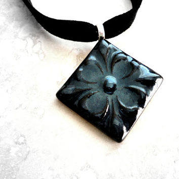 Feminine Ceramic Choker, Elegant Jewelry, Pottery Necklace, Ceramic Pendant - Midnight Blue, Black, Victorian Flower Design