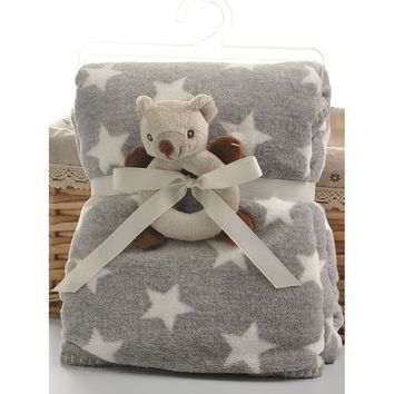 Star Print Baby Blanket With Koala