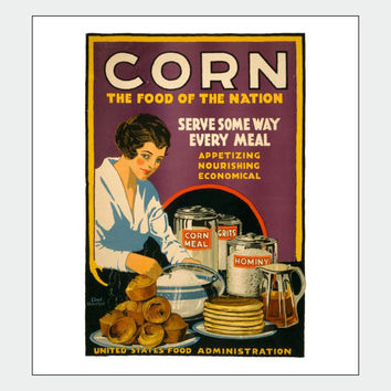 WWI Corn Meal Vintage Food Poster Print