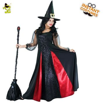 Cool New Arrival Women's Witch Costume Role Play Movie Wizard Witch Dress Cosplay Halloween Party with Hat Long Witch Costumes PartyAT_93_12