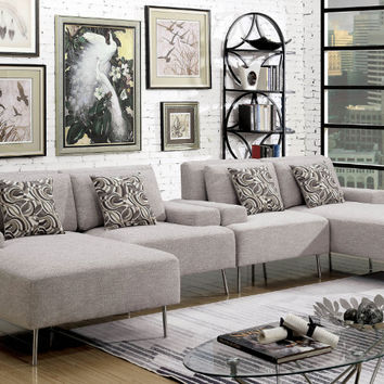 Furniture of america CM6341-4PC 4 pc Bryn gray linen like fabric modular sectional sofa