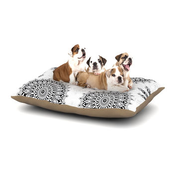 "Julia Grifol ""Black Mandala"" White Black Dog Bed"