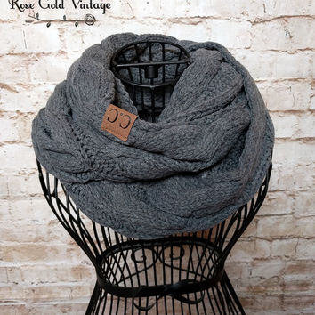 CC Cable Knit Infinity Scarf - Charcoal