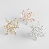 Glittered Star with Pearls Ornaments Set of 3