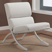 Modern Chair White Bonded Leather Non-Mar Foot Glides Living Room Decor New