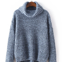 Gray High-Necked Loose Thick Short Knit Sweater