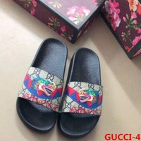 Gucci  Fashion Casual Women Man Dragon Print Sandal Slipper Shoes White G