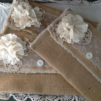 Burlap and  Lace wedding clutch, bridesmaids gift