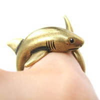 Shark Sea Animal Wrap Around Realistic Ring in Brass - Size 5 to 10
