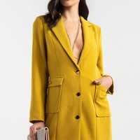Single Breasted Metallic Button Long Sleeve Shoulder Padded Trench Coat in Mustard